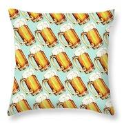 Beer Pattern Throw Pillow