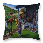 Porch Music And Flatfoot Dancing - Mountain Music - Appalachian Traditions - Appalachia Farm Throw Pillow