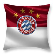 F C Bayern Munich - 3 D Badge Over Flag Throw Pillow