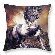 Apache War Horse Throw Pillow