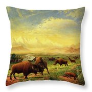 Buffalo Fox Great Plains Western Landscape Oil Painting - Bison - Americana - Historic - Walt Curlee Throw Pillow