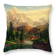 Indian Village Trapper Western Mountain Landscape Oil Painting - Native Americans Americana Stream Throw Pillow