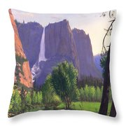 Mountains Waterfall Stream Western Mountain Landscape Oil Painting Throw Pillow