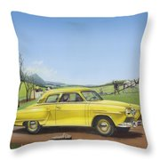Studebaker Champion Antique Americana Nostagic Rustic Rural Farm Country Auto Car Painting Throw Pillow
