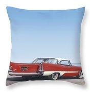 1957 De Soto Car Nostalgic Rustic Americana Antique Car Painting Red  Throw Pillow