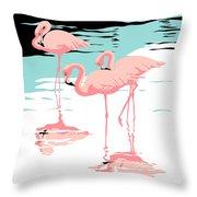 Pink Flamingos Tropical 1980s Abstract Pop Art Nouveau Graphic Art Retro Stylized Florida Print Throw Pillow