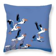 abstract Pelicans seascape tropical pop art nouveau 1980s florida birds large retro painting  Throw Pillow