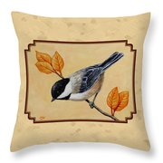 Chickadee And Autumn Leaves Throw Pillow