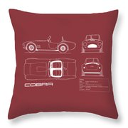Ac Cobra Blueprint - Red Throw Pillow