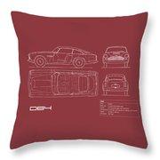 Aston Martin Db4 Blueprint - Red Throw Pillow