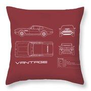 Aston Martin V8 Vantage Blueprint - Red Throw Pillow