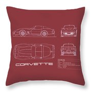 Corvette C3 Blueprint - Red Throw Pillow