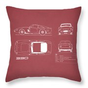 Ferrari 330 Blueprint - Red Throw Pillow