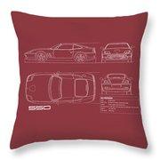 Ferrari 550 Blueprint - Red Throw Pillow