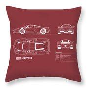Enzo Ferrari Blueprint - Red Throw Pillow