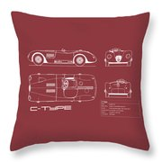 Jaguar C-type Blueprint - Red Throw Pillow
