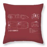 Jaguar Xk 120 Blueprint - Red Throw Pillow