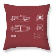 Mercedes Ssk Blueprint - Red Throw Pillow