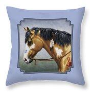 Buckskin Native American War Horse Throw Pillow by Crista Forest