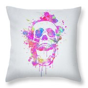 Cool And Trendy Pink Watercolor Skull Throw Pillow