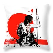 Trash Polka - Female Samurai Throw Pillow