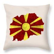 Macedonia Map Art With Flag Design Throw Pillow