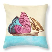 Butterfly Ship Throw Pillow