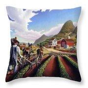 Appalachian Folk Art Summer Farmer Cultivating Peas Farm Farming Landscape Appalachia Americana Throw Pillow