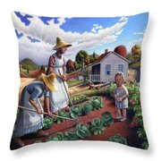 Family Vegetable Garden Farm Landscape - Gardening - Childhood Memories - Flashback - Homestead Throw Pillow by Walt Curlee