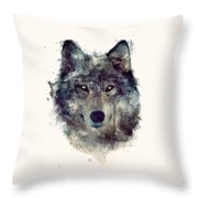 Wolf // Persevere Throw Pillow by Amy Hamilton