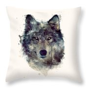 Wolf // Persevere Throw Pillow