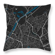 Brussels City Map Black Colour Throw Pillow