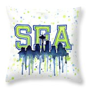 Seattle Watercolor 12th Man Art Painting Space Needle Go Seahawks Throw Pillow