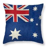 Australian Flag Vintage Retro Style Throw Pillow