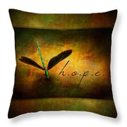 Hope Ebony Jewel Wing Damselfly On Golden Sunlight Dragonfly Throw Pillow