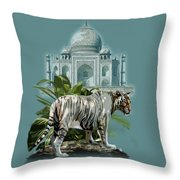 White Tiger And The Taj Mahal Image Of Beauty Throw Pillow