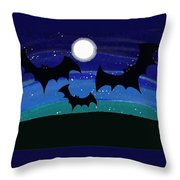 Bats At Night Throw Pillow