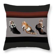 Kittens In Designer Ladies Shoes Throw Pillow