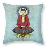 Electric Buddha Throw Pillow