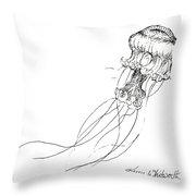 Jellyfish Sketch - Black And White Nautical Theme Decor Throw Pillow