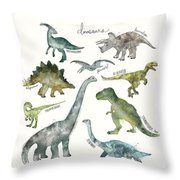 Dinosaurs Throw Pillow by Amy Hamilton