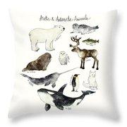 Arctic And Antarctic Animals Throw Pillow