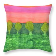 Trees, Green And Evening Sky Throw Pillow
