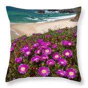 Cliff Flowers Throw Pillow