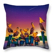 Pelican Sunset Whimsical Cartoon Tropical Birds Seascape Print Blue Orange Purple Yellow Throw Pillow