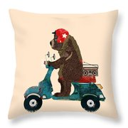 Scooter Bear Throw Pillow by Bri Buckley