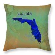 Florida Map Throw Pillow