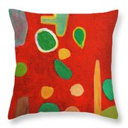 Scattered Things Over Red  Throw Pillow
