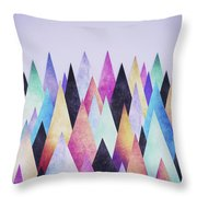 Colorful Abstract Geometric Triangle Peak Woods  Throw Pillow
