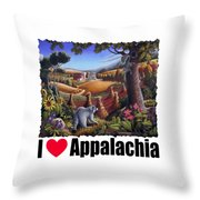 I Love Appalachia - Coon Gap Holler Country Farm Landscape 1 Throw Pillow